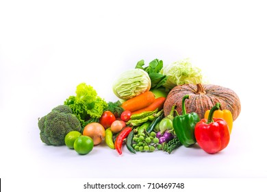 collection vegetables isolated white background .