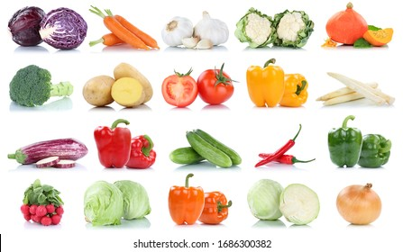 Collection of vegetables tomatoes carrots lettuce pumpkin fresh food vegetable potatoes isolated on a white background