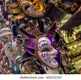 Collection of venetian festival masks. Very colorful, traditional masks used in time of carnival masquerade.The Carnival ends with the Christian celebration of Lent, forty days before Easter,