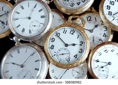 A collection of vintage gold and silver pocket watches
