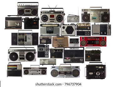 collection of  vintage hifi radio stereo and ghetto blasters