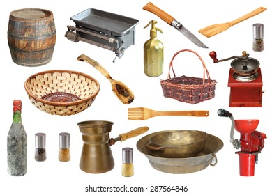 collection of vintage kitchen objects isolated over white background