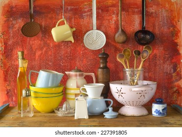 Superbe Collection Of Vintage Kitchenware, Red Background