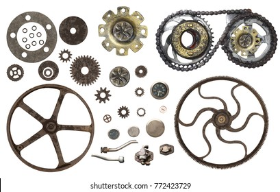 Collection of vintage machine gears. Set of retro gear wheels. Cogwheel isolated on white background. Can be used for steampunk and mechanical design