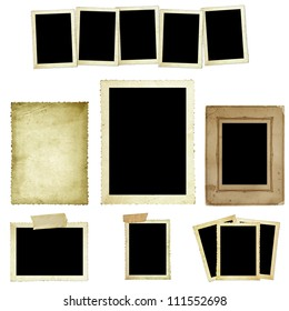 Collection of vintage photo frames or borders, isolated on white.