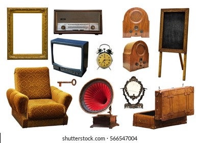 Collection of vintage retro home related objects isolated on white background - picture frame, radio device, armchair, gramophone, key, mirror, leather suitcase, alarm clock, information board and tv