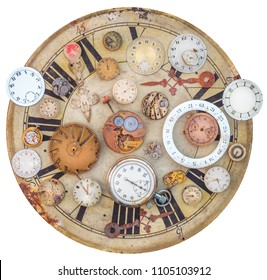 Collection of vintage rusty watches and clock parts on an old clock face