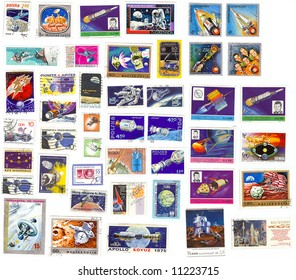 collection of vintage space stamps from different countries