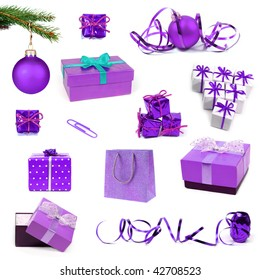 Collection of violet Christmas decorations and gifts on white background