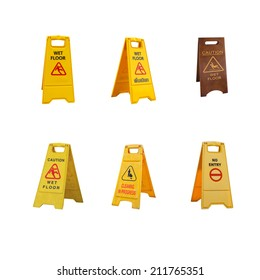 collection of  warning sign board isolated on white background .