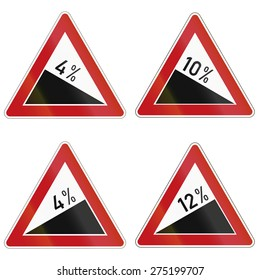 Collection of warning signs about incline or decline in Germany.