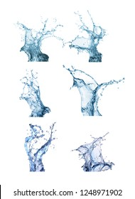 Collection water splash isolated in white background