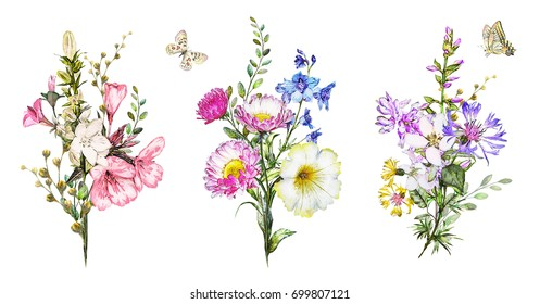 collection watercolor flowers. floral illustration. Bouquet of wildflowers, Leaf, herbs. Cute composition for greeting card.  branch of flowers isolated on white background with butterfly. Botanic