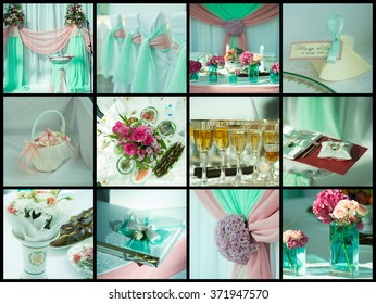 Collection of wedding details. Close-up image view