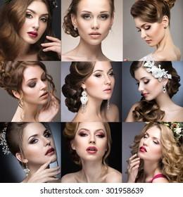 Collection of wedding makeup. Beautiful girls. Beauty face.
