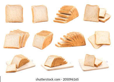 Collection of white bread. isolated on white background