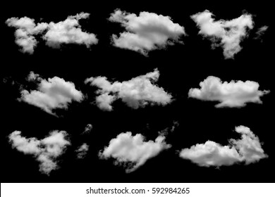 Collection of white cloud on black background