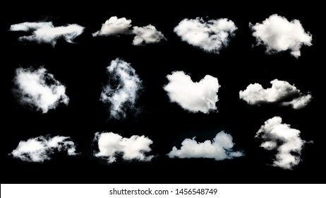 Collection of white clouds isolated on black background. Design elements..