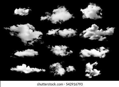 collection of white clouds isolated on black background - Shutterstock ID 542916793