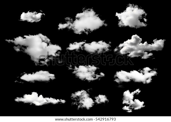 collection of white clouds isolated on black background