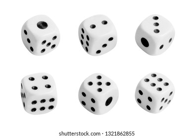Collection of white dices, isolated on white background