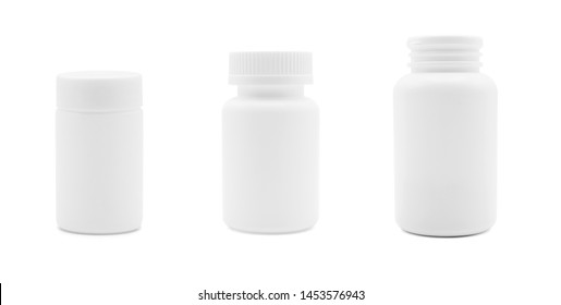 Collection of white plastic medicine bottle isolated on white back ground, medical and drug concept, front view photo.