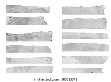 collection of white torn paper isolated over white background. copy space