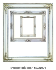 collection of white wood photo image frame isolated on white background