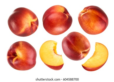 Collection of whole and cut peach fruits isolated on white background.