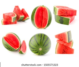 Collection of whole and cut watermelon fruits isolated on white background. Set of different slices.
