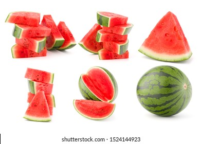 Collection of whole and cut watermelon fruits isolated on white background. Set of different slices...