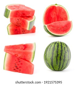 Collection of whole and cut watermelon fruits isolated over white background. Set of different slices.