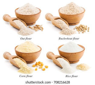 Collection of whole grain flour isolated on white