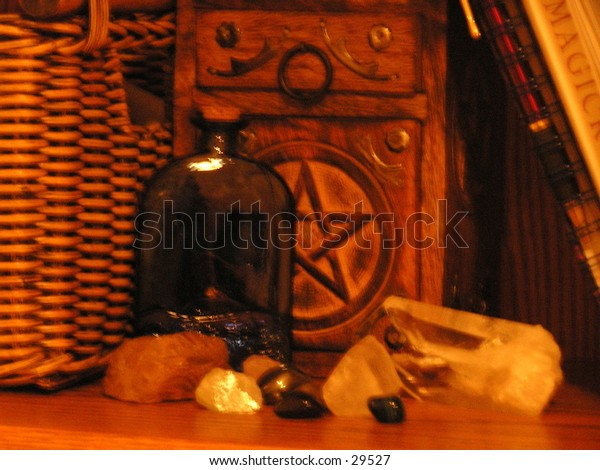 A collection of wicca supplies.