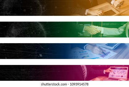Collection of wide banner of business concept. Web design. Index. Tag labels. Header. Hooter.