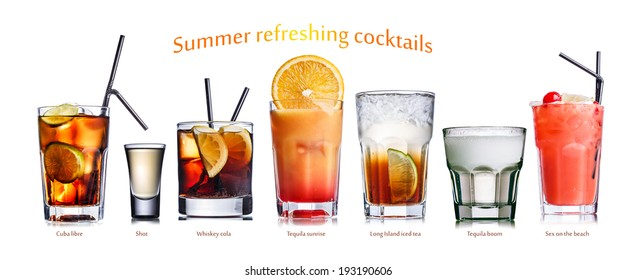 Collection of widely known refreshing summer alcoholic cocktails.