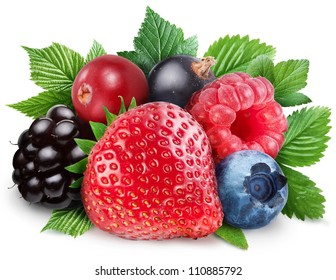 Collection of wild berries with leaves on a white background.