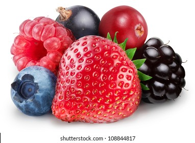 Collection of wild berries on a white background. File contains clipping path.