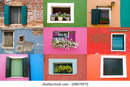 Collection of window on colored walls in Venice
