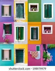Collection of windows and doors on colored walls in Venice
