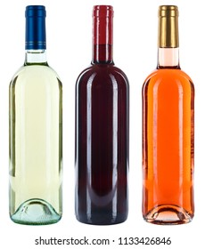 Collection of wine bottles wines red white rose alcohol isolated on a white background