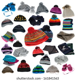 Collection of winter hats and winter wear