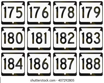 Collection of Wisconsin Route shields used in the USA.