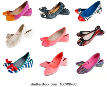 collection of woman fashion slip on shoes