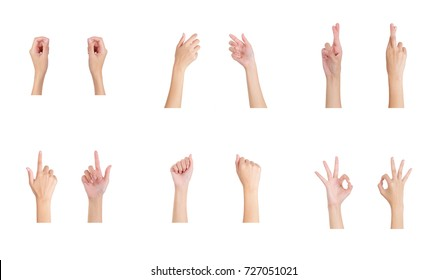 Collection of woman hand holding empty space and Index finger (Pick), Crossed fingers (Lie), Ok (Okay) sign with front hand and back hand side. Isolated on white background.