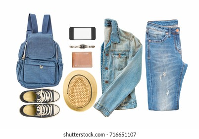 Collection of woman's accessories isolated on white background,travel concept.
