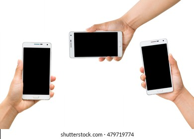 collection of women hand holding white mobile smart phone with black blank screen isolated on white background.