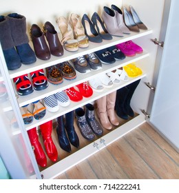 Collection of women's shoes on white background