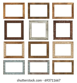 Collection of wood frame or photo frame isolated on the white background. Object with clipping path
