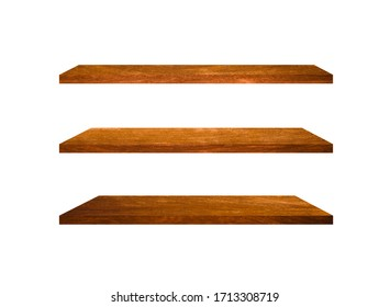 Collection of  wooden shelves isolated on white background with clipping path for design and work